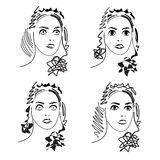 Cartoon facial expressions set Stock Image
