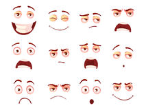 Cartoon facial expressions set of vectors. Creative style of smiles with different emotions - sadness, pain, shock, joy, inspiration, anger, sadness stock illustration