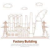 Cartoon Factory Building Industry Business Architecture Card Poster. Vector Royalty Free Stock Image