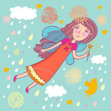 Cartoon fairy. Girl is flying in the sky Stock Image