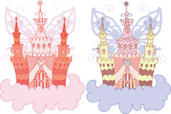 Cartoon fairy castle on a cloud Royalty Free Stock Photos