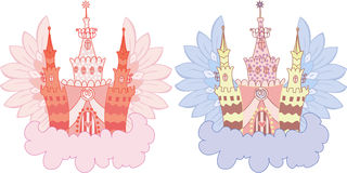 Cartoon fairy castle set Royalty Free Stock Images