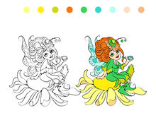 Cartoon fairy coloring page vector illustration