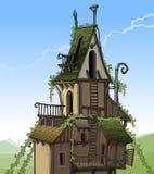Cartoon fairy house overgrown plants Stock Photos