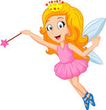 Cartoon fairy with magic wand. Illustration of Cartoon fairy with magic wand Royalty Free Stock Photo