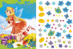 Cartoon fairy princess - sticker page Royalty Free Stock Image