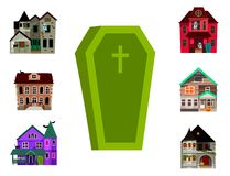 Dark mysterious obscure gloomy terrible witch castle coffin with spooky for Halloween design vector illustration stock illustration