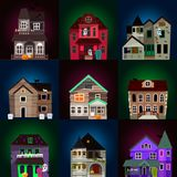 Dark mysterious obscure gloomy terrible witch castle with spooky for Halloween design vector illustration Stock Photo