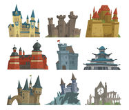 Cartoon fairy tale castle key-stone palace tower icon scarry knight medieval architecture building vector illustration. Fantasy old fortress kingdom stronghold Royalty Free Stock Images