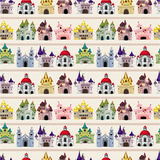 Cartoon Fairy tale castle seamless pattern. Drawing Royalty Free Stock Image