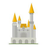 Cartoon fairy tale castle tower icon cute architecture fantasy house fairytale medieval and princess stronghold design Royalty Free Stock Photo