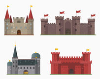 Cartoon fairy tale castle tower icon cute architecture fantasy house fairytale medieval and princess stronghold design Stock Image