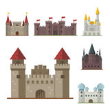 Cartoon fairy tale castle tower icon cute architecture fantasy house fairytale medieval and princess stronghold design Royalty Free Stock Image