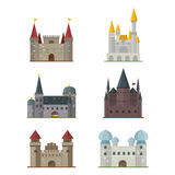 Cartoon fairy tale castle tower icon cute architecture fantasy house fairytale medieval and princess stronghold design Stock Images