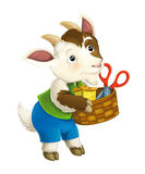 Cartoon fairy tale character for different usage - goat child is busy helping in house works. Happy and colorful cartoon illustration for children Royalty Free Stock Photo