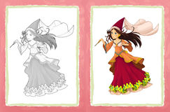 Cartoon fairy tale character - princess / coloring page. Beautiful and colorful illustration for the children - for different usage - for fairy tales Stock Image
