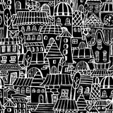 Cartoon fairy tale drawing houses seamless pattern Stock Image