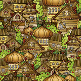 Cartoon fairy tale drawing village Stock Photography