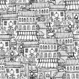 Cartoon fairy tale drawing vintage town. Sketchy seamless pattern Royalty Free Stock Images