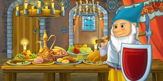 Cartoon fairy tale with dwarf prince in the castle by the table full of food looking and smiling stock illustration