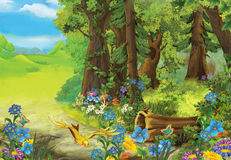 Cartoon fairy tale of forest - nature - image for different fairy tales Royalty Free Stock Image
