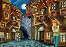 Cartoon fairy tale - illustration for the children Stock Photos
