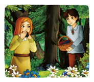 Cartoon fairy tale - illustration for the children Stock Photography