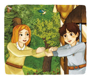 Cartoon fairy tale - illustration for the children Stock Images