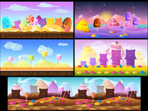 Cartoon fairy tale landscape. Candy land illustration for game background Stock Photography
