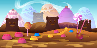 Cartoon fairy tale landscape. Candy land illustration for game design. Stock Photos