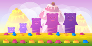 Cartoon fairy tale landscape. Candy land illustration for game design. Stock Photo