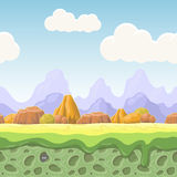 Cartoon fairy tale landscape. Stones seamless  illustration for game design. Horizontal  country background Stock Images