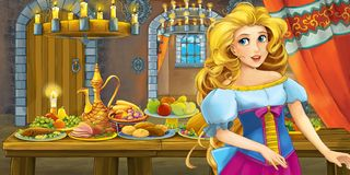 Cartoon fairy tale with princess in the castle by the table full of food looking and smiling stock illustration