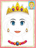 Cartoon fairy tale scene with - beautiful manga girl face - exercise for children Royalty Free Stock Photos