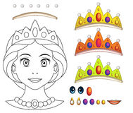Cartoon fairy tale scene with - beautiful manga girl face - exercise for children Royalty Free Stock Images