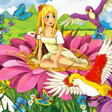 Cartoon fairy tale scene - beautiful young girl on the flower Stock Image