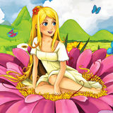 Cartoon fairy tale scene - beautiful young girl on the flower Stock Photos