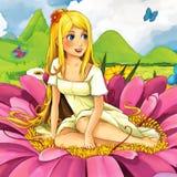 Cartoon fairy tale scene - beautiful young girl on the flower Stock Photos