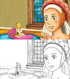 Cartoon fairy tale scene with big woman and little girl Stock Image