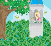 Cartoon fairy tale scene with castle tower and beautiful princess. Vector Illustration royalty free illustration