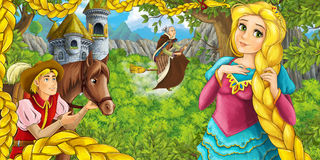 Cartoon fairy tale scene with castle tower - princess in the forest - beautiful manga girl - castle tower in the background Royalty Free Stock Photos