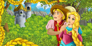 Cartoon fairy tale scene with castle tower - princess in the forest - beautiful manga girl - castle tower in the background Royalty Free Stock Photography