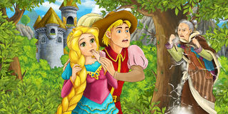 Cartoon fairy tale scene with castle tower - princess in the forest - beautiful manga girl - castle tower in the background Royalty Free Stock Image