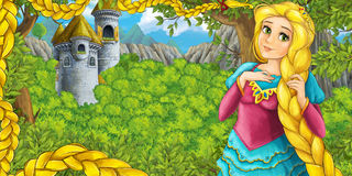 Cartoon fairy tale scene with castle tower - princess in the forest - castle tower in the background. Happy and colorful traditional illustration for children stock illustration