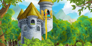Cartoon fairy tale scene with castle tower - princess in the window Stock Photos
