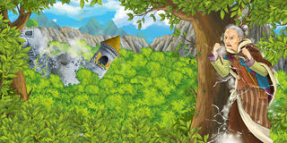 Cartoon fairy tale scene with castle tower and a witch - princess in the forest - older manga woman Royalty Free Stock Photos