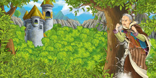 Cartoon fairy tale scene with castle tower and a witch - princess in the forest - older manga woman. Happy and colorful traditional illustration for children Stock Photo