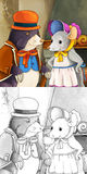 Cartoon fairy tale scene - coloring illustration Stock Photos