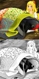 Cartoon fairy tale scene - coloring illustration Stock Images