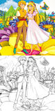 Cartoon fairy tale scene - coloring illustration Stock Photo